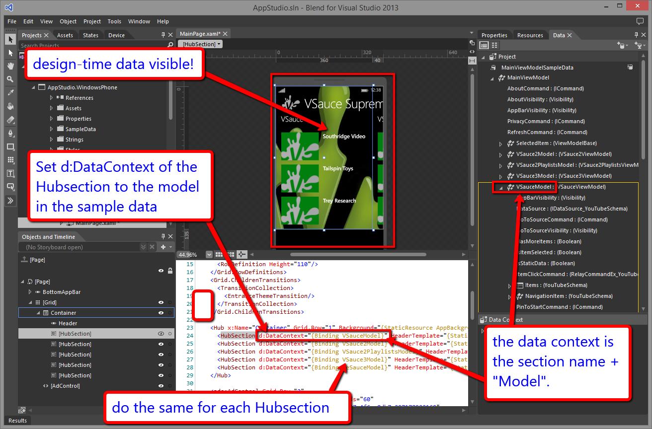 App Studio – Design-Time Sample Data   Boston Windows Developer