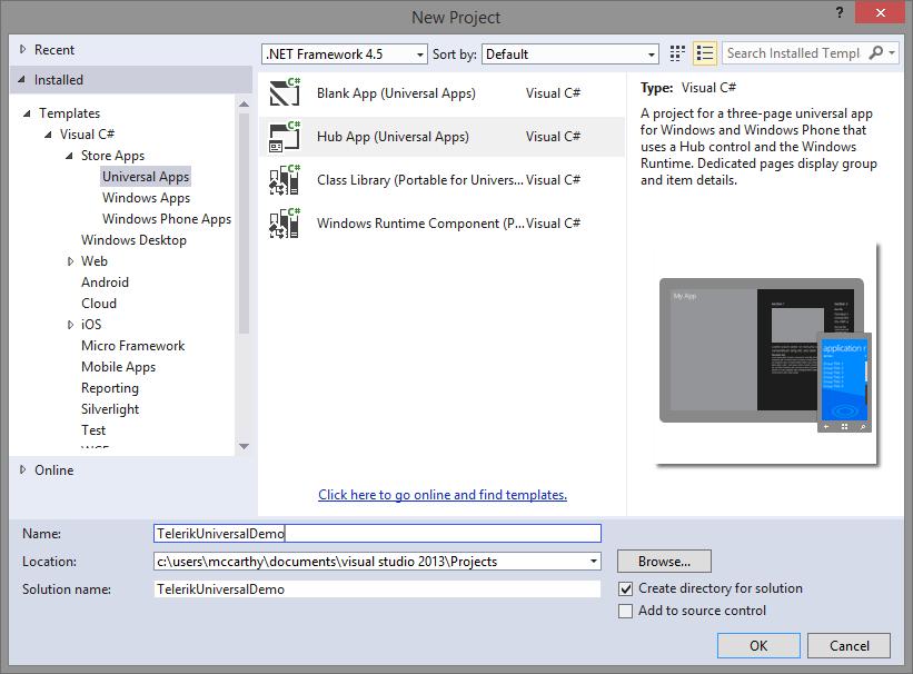 Adding Telerik Universal | Boston Windows Developer